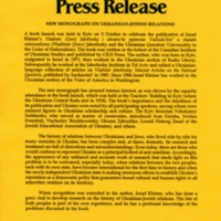 October 1995—New Monograph on Ukrainian-Jewish Relations