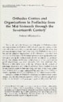 Orthodox Centres and Organizations in Polachia from the Mid-Sixteenth through the Seventeenth Century