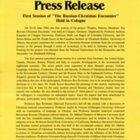"July 1994—First Session of ""The Russian-Ukrainian Encounter"" Held in Cologne"