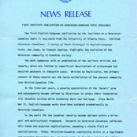 18 July 1978 — First Institute Publication on Ukrainian-Canadian Topic Available