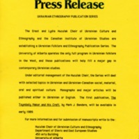 January 1989—Ukrainian Ethnography Publication Series