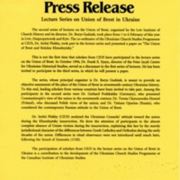 April 1995—Lecture Series on Union of Brest in Ukraine