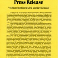 1993—University of Alberta Hosts Eight Ukrainian Recipients of Canadian Government Technical Assistance Fellowships