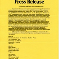 February 1990 — Historical Document on Famine in Ukraine