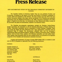 November 1990—New Documentary Study of the Ukrainian Communist Movement in Canada