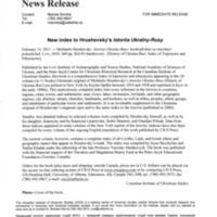 14 February 2011—New index to Hrushevsky's Istoriia Ukraїny-Rusy