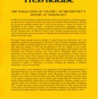 June 1997—The Publication of Volume 1 of Hrushevsky's History of Ukraine-Rus'