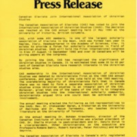 Spring-Summer 1990 — Canadian Slavists Join International Association of Ukrainian Studies