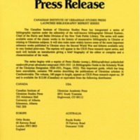 November 1990 — Canadian Institute of Ukrainian Studies Press Launches Bibliography Reprint Series