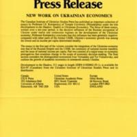 December 1991—New Work on Ukrainian Economics