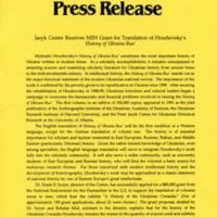 June 1992—Jacyk Centre Receives NEH Grant for Translation of Hrushevsky's History of Ukraine-Rus'