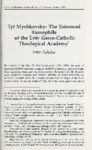 Tyt Myshkovsky: The Esteemed Russophile of the Lviv Greco-Catholic Theological Academy