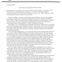 26 January 2009—New Book on the Capitol of Hetman Ukraine