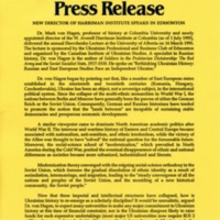 1995—New Director of Harriman Institute speaks in Edmonton