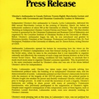 1993—Ukraine's Ambassador to Canada Delivers Twenty-Eighth Shevchenko Lecture and Meets with Government and Ukrainian Community Leaders in Edmonton
