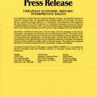 December 1991—Ukrainian Economic History: Interpretive Essays