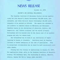 10 October 1978 — Master's and Doctoral Fellowships