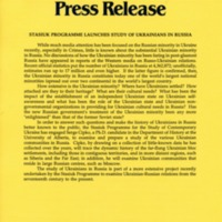 1992—Stasiuk Programme Launches Study of Ukrainians in Russia