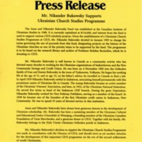 April 1995—Mr. Nikander Bukowsky Supports Ukrainian Church Studies Programme