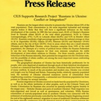 "1993—CIUS Research Project ""Russians in Ukraine: Conflict or Integration"""