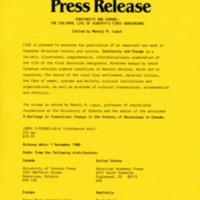 November 1988—Continuity and Change: The Cultural Life of Alberta's First Ukrainians