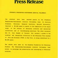 January 1987 — Stephania Bukachevska-Pastushenko Archival Fellowship