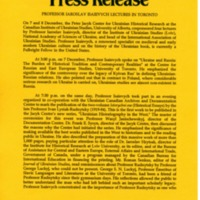 December 1995—Professor Iaroslav Isaievych Lectures in Toronto
