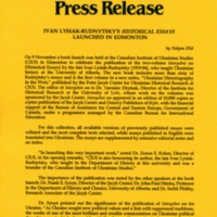 November 1995—Ivan Lysiak-Rudnytsky's Historical Essays Launched in Edmonton