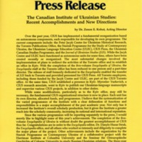 1993—The Canadian Institute of Ukrainian Studies: Recent Accomplishments and New Directions