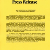 1992—New Director of Programme on Contemporary Ukraine