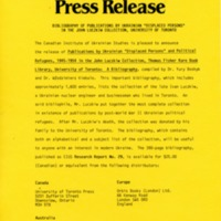 "February 1989— Bibliography of Publications by Ukrainian ""Displaced Persons"" in the John Luczkiw Collection, University of Toronto"
