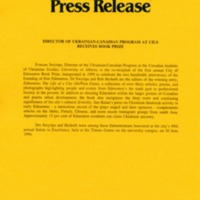 1996—Director of Ukrainian–Canadian Program at CIUS Receives Book Prize