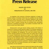 November 1991—Major New Study of Ukrainians in Canada, 1891-1924
