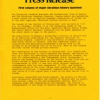 1997—Hrushevsky's History of Ukraine-Rus' Volume 1 book launch in Regina