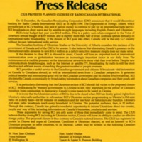 1995/1996—CIUS Protests Planned Closure of Radio Canada International