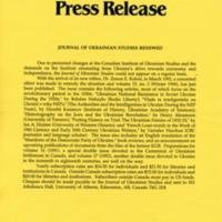 1992—Journal of Ukrainian Studies Renewed