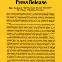 "15–17 June 1995—Third Session of ""Ukrainian-Russian Encounter"" 15–17 June 1995, Köln, Germany"