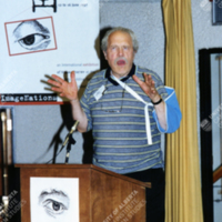 Keynote speaker Dick Higgins gives the opening address at The Eye Rhymes Conference.jpg