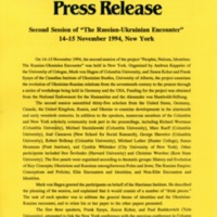 "December 1994—Second Session of ""The Russian-Ukrainian Encounter"" 14–15 November 1994, New York"