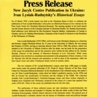 April 1995—New Jacyk Centre Publication in Ukraine: Ivan Lysiak-Rudnytsky's Historical Essays