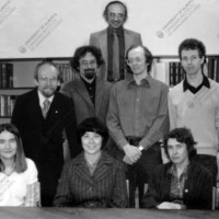 CIUS Edmonton Staff (ca. 1980)<br /> Sitting (L─R): Frances Swyripa, Chen Yi Yun (visiting scholar), Assya Berezowsky.<br /> Standing (L─R): Andrij Horniatkevyč, John-Paul Himka, Bohdan Krawchenko, Peter Matilainen, and David Marples